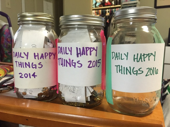 While making my happy jar this year, I couldn't find my purple permanent marker or my pink duct tape. I'm trying not to be annoyed about it.